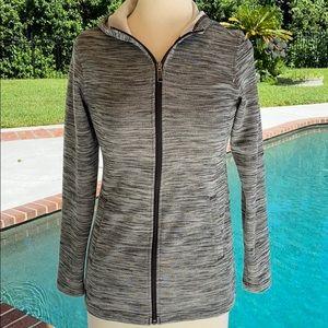 Columbia grey and back zip up hooded jacket.